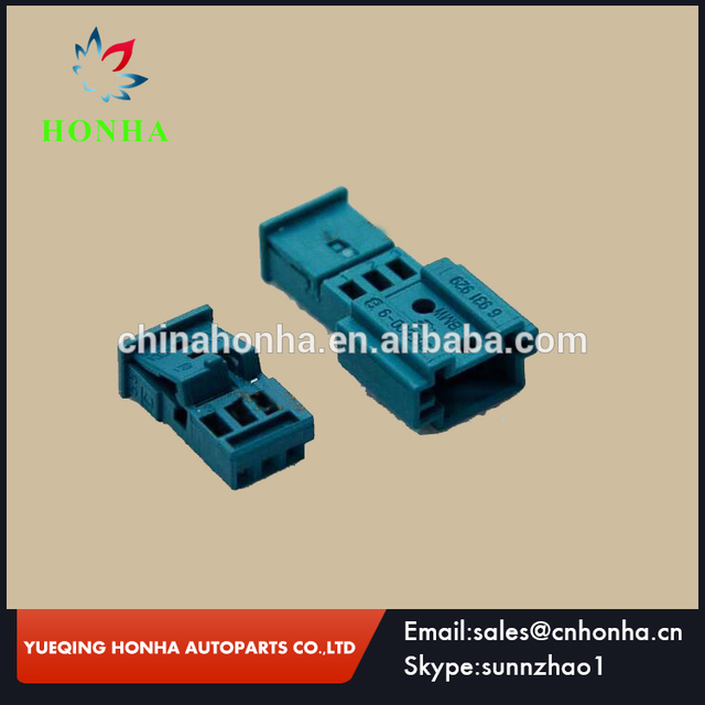 1355600-9b 1355620-9 pa66 blue 3 pin male and female electronical wire  harness connector