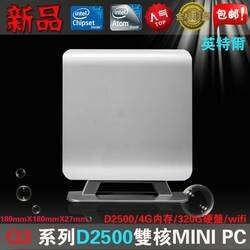 ITX Htpc Настольный Компьютер Mini PC q3 d2500 хост htpc мини-компьютер хост 4 г 320 г wi-fi