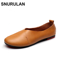 SNURULAN Original Vintage Art Handmade Shoes Brand Genuine Leather Flats Women Shoes Shallow Mouth Casual Fashion