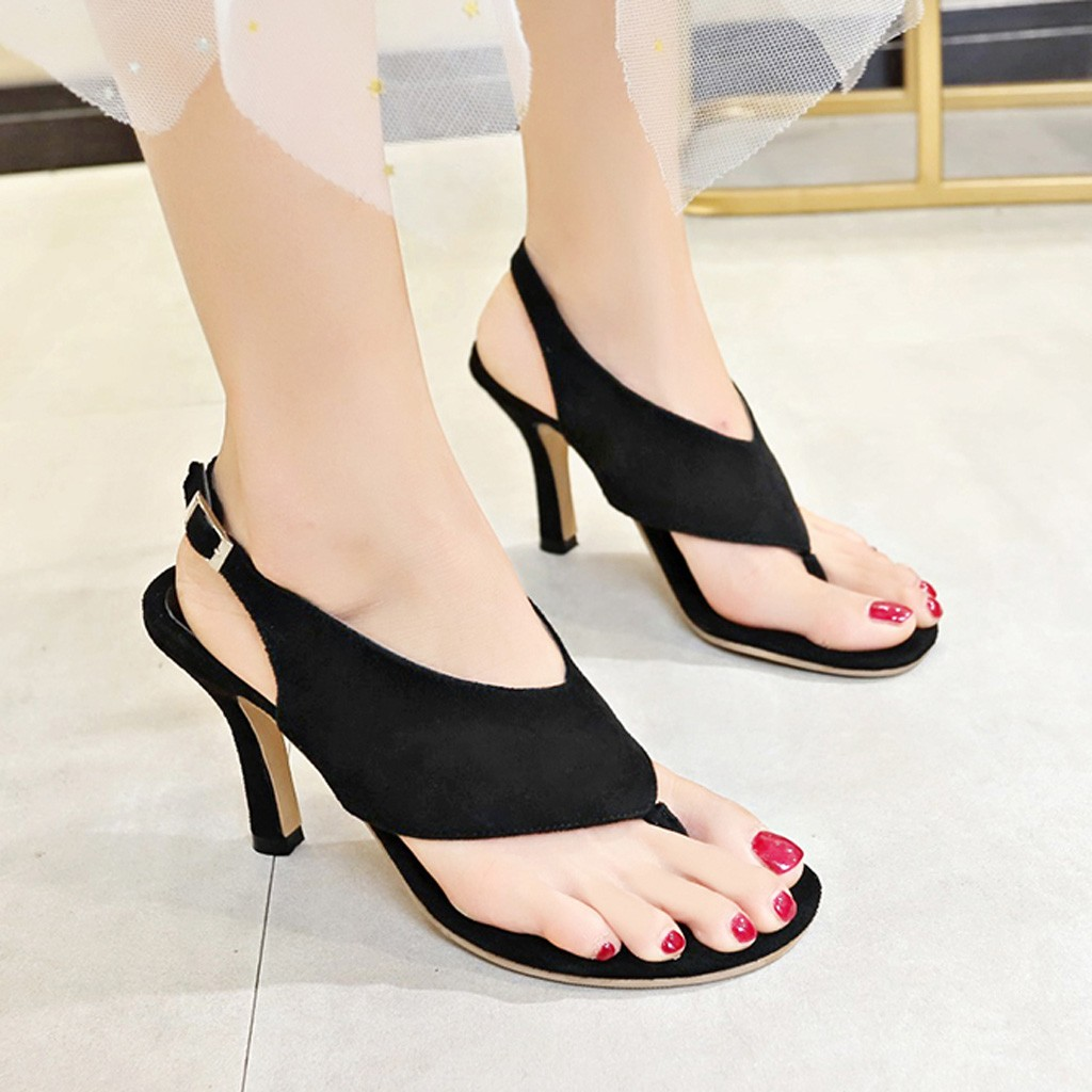 Thong Sandals Shoes Stiletto High-Heel Pumps Women Fashion Summer Tacon Verano Belt-Buckle