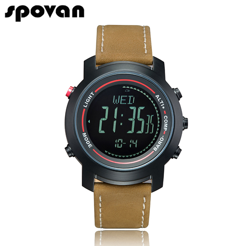 SPOVAN Men s Watch with Genuine Leather Band 50M Waterproof Sport Watches Compass LED Backlight Multifunction