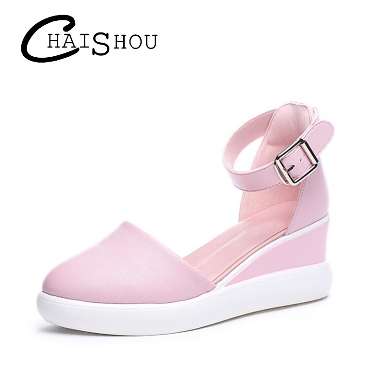 Sell well summer fashion Women shoes Wedges women Sandals Casual Buckle Strap Increase lady Med Heel Platform Pump Shoes U034 venchale 2018 summer new fashion sandals wedges platform women shoes height heel 10 cm buckle strap casual cow leather sandals