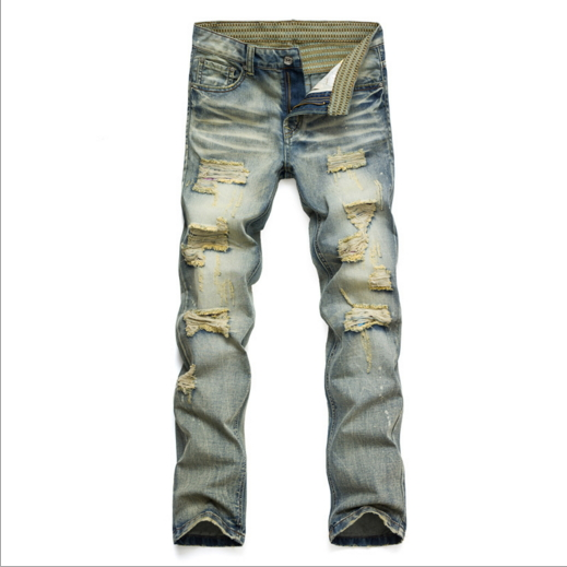 Men's casual holes Distressed ripped Jeans for Men TornDenim Pants Male New Fashion Garment Washed skinny biker punk Jeans J031