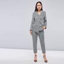 f08d1a66a19 Women Pant Suits High Quality Gray Plaid Print Ladies Blazer Casual Pants  Elegant Autumn Fashion Vintage Office Two Piece Suit