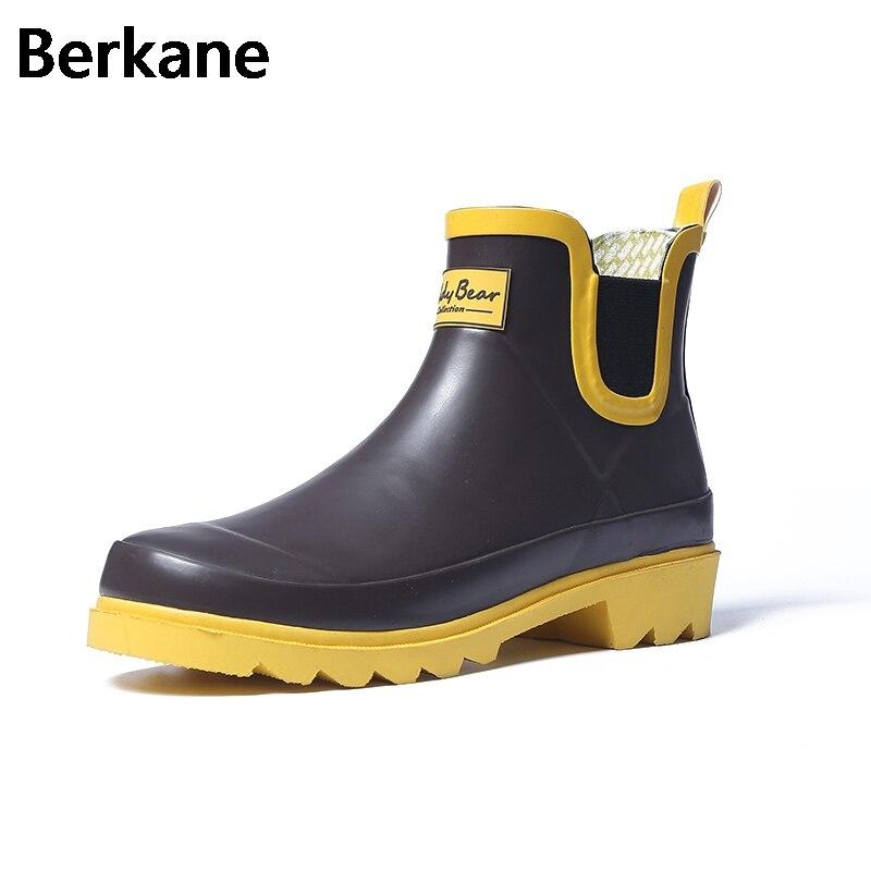 d49cfa68d Ladies Rubber Ankle Rain Boots Women Water Shoes Womens Pvc Rainboots Slip  On Short Boots Fashion