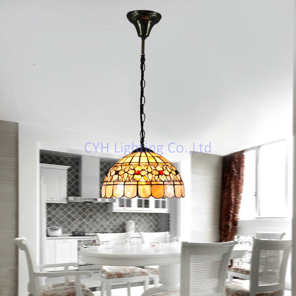 High Quality Free Shipping Simple 10 Inch Tiffany Dining Room Chandelier Shell Lamp  Height Adjustable 40W 110