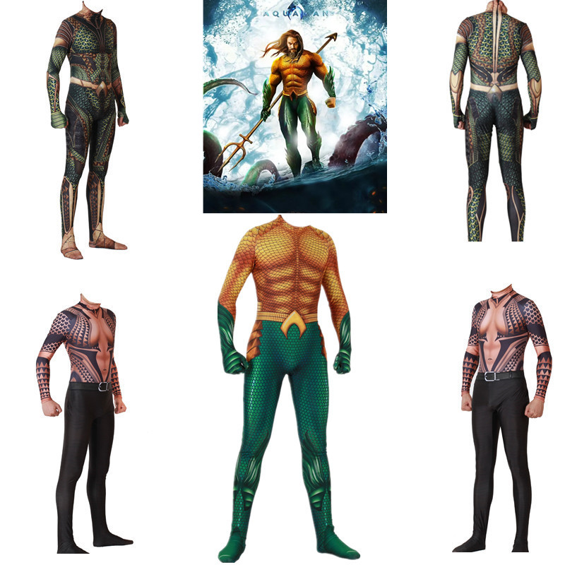 Guardian of the sea Aquaman Atlantis Arthur Curry / Orin Cosplay Costumes Spandex Women Men Bodysuits Jumpsuits Zentai Suit New