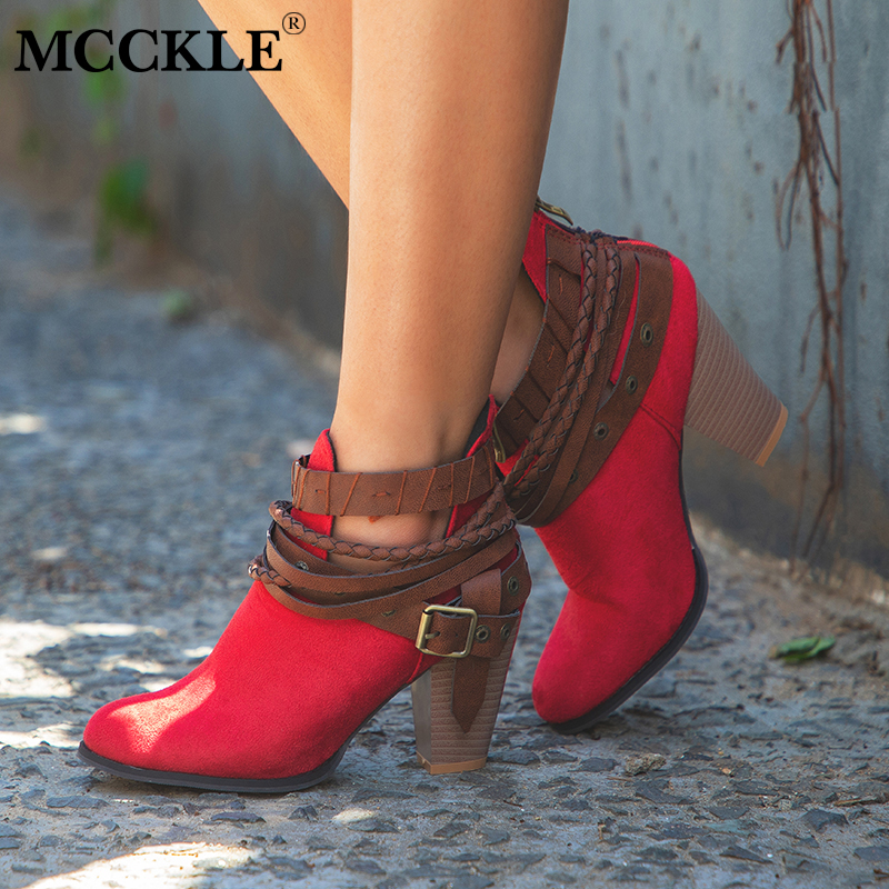 MCCKLE Fashion Women Autumn Block Heel Ankle Boots Plus Size Female Rivets Buckle High Heels Shoes Ladies PU Leather Footwear mcckle women s lace up rivets buckle ankle martin boots ladies fashion thick heel platform high quality leather autumn shoes