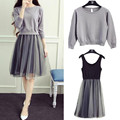 2017 Women Autumn College Wind knit sweater dress two-piece dress female long paragraph gauze tutu grey fashion casual dresses