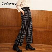 Samstree Vintage Women Long Wide Leg Pants Black White Plaid Loose Pants Elastic Waist Straight Autumn Female Trousers
