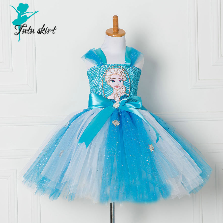 Tutu Dress Princess Anna Elsa Dress Halloween Party Vestidos Cosplay Costume Girl Dress Summer Girls Clothes Free Shipping elsa dress sparkling snow queen elsa princess girl party tutu dress cosplay anna elsa costume flower baby girls birthday dresses