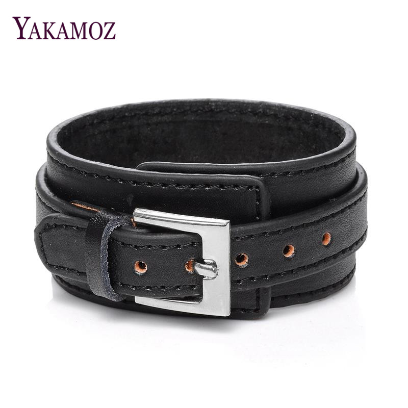 YAKAMOZ Men Jewelry Vintage Genuine Leather Bracelet Pulsera Punk Cuff Charm Bracelet Men Bijoux Leather Jewelry