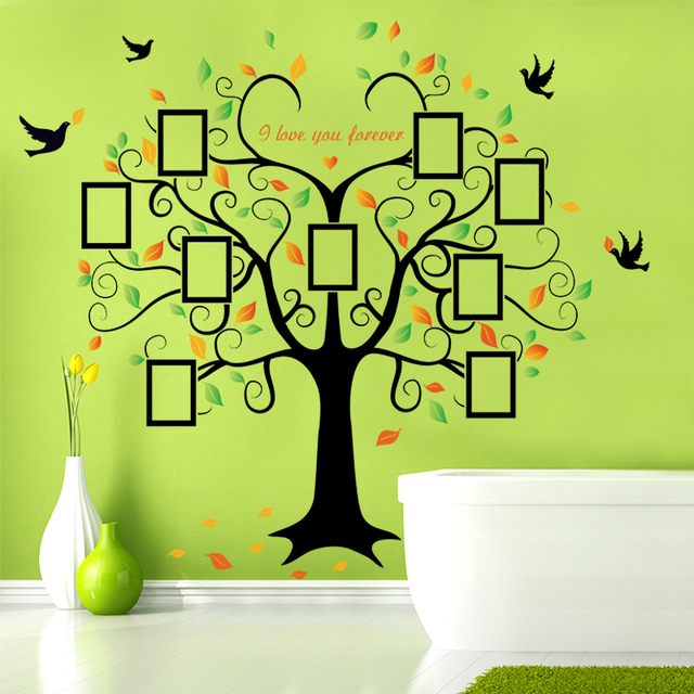 Large 240cm/ 80inch Family Tree Photo Frame Removable Wall Sticker Love Tree Bird Butterfly 4