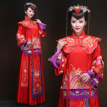 Ancient China traditional red clothing chinese style wedding vintage suits  for women de femme un mariage traditionnel chinois