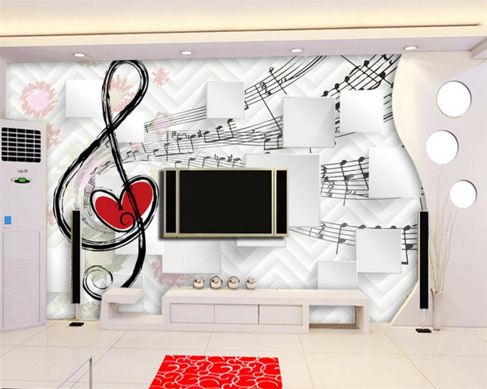 Beibehang Custom Personality 3D Wallpaper Notes Music Box TV Background Wall For Walls 3 D Papel De Parede Tapeten In Wallpapers From Home