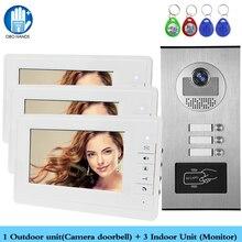 유선 홈 7 인치 tft 컬러 비디오 인터콤 도어 폰 시스템 멀티 아파트에 대 한 2/3/4 모니터와 rfid 카메라 금속 700tvl
