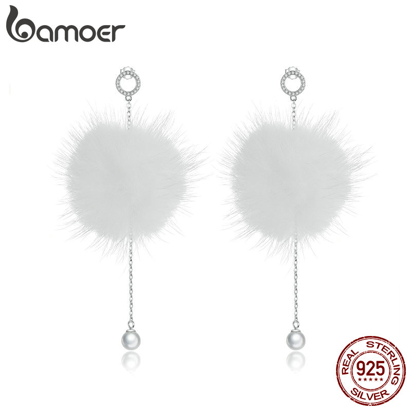 Bamoer Rabbit Fur Ball PomPom Drop Earrings For Women 925 Sterling Silver Soft Pom Pom Dangle Earring Fashion Jewelry BSE110
