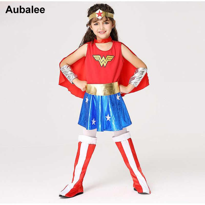 Wonder Woman Halloween Costume Kids.Girls Wonder Woman Costume Children Supergirl Fancy Dress Dc