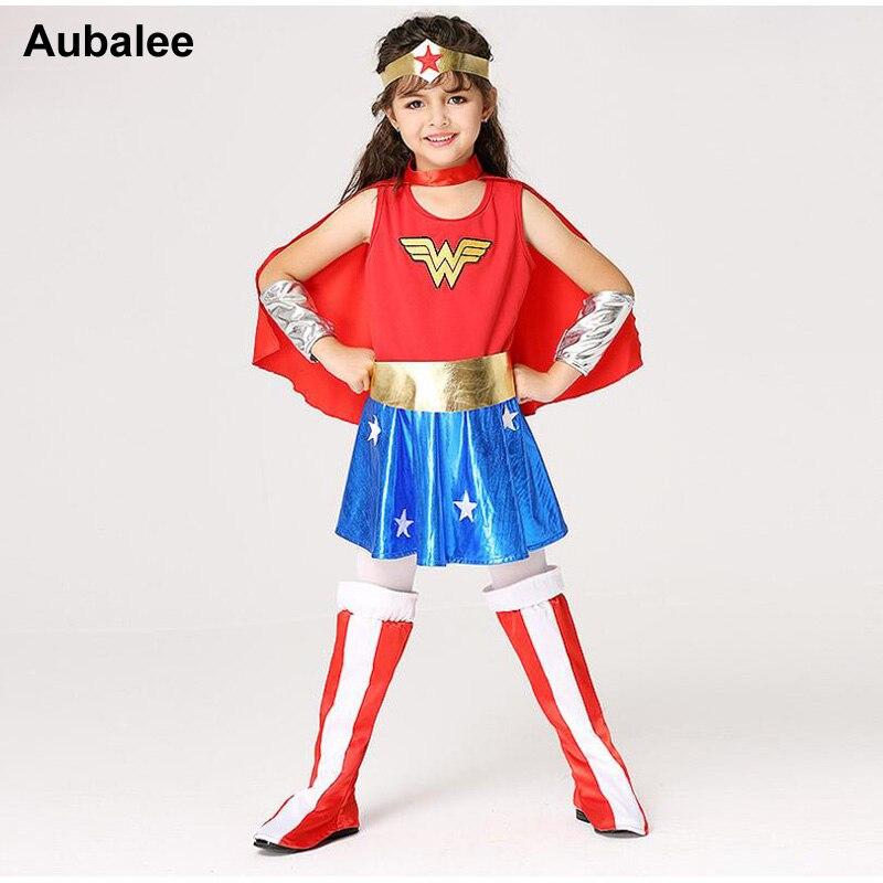 Girls Wonder Woman Costume Children Supergirl Fancy Dress DC Superhero Cosplay Princess Diana Outfit Kids Halloween Costume 2018