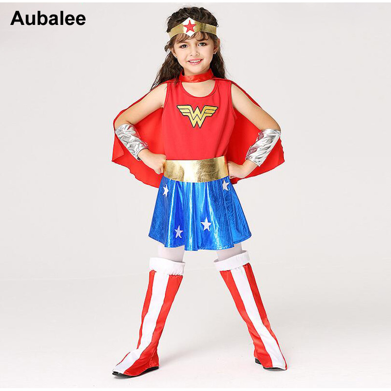 Girls Wonder Woman Costume Children Supergirl Fancy Dress Dc