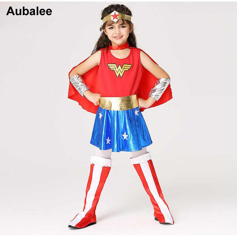 0c3590619 Detail Feedback Questions about Girls Wonder Woman Costume Children  Supergirl Fancy Dress DC Superhero Cosplay Princess Diana Outfit Kids  Halloween Costume ...