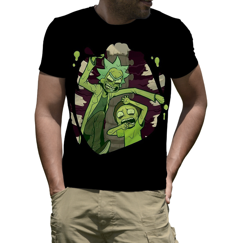 Anime Rick and Morty Round Neck T-Shirt Men Summer Mens Short T Shirt Funny Tee Shirt