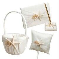 Elegant White 4pcs/set(Guest book+Flower Basket+Pen Holder+Ring Pillow) Handmade Satin Ribbon Starfish Wedding Supplies