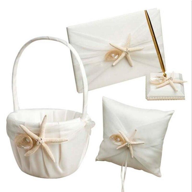 Elegante Witte 4 stks/set (gastenboek + Bloem Mand + Pen Houder + Ring Kussen) Handgemaakte Satijnen Lint zeester Bruiloft Benodigdheden