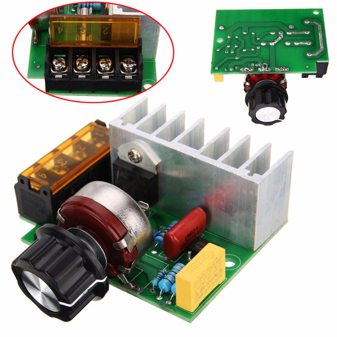 Sikeo 4000 W 220 V Adjust Scr Voltage Regulator Control Dimmers Ac Motor Speed Circuit 4000w 220v Adjustable Brush Temperature Dimmer For Lamps Water