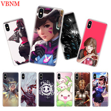 Overwatchs OW D.VA Silicome Phone Case For iPhone 7 8 6 6S Plus X 10 Ten 9 XS MAX XR 5 5S SE Art Customized Cover Cases Coque