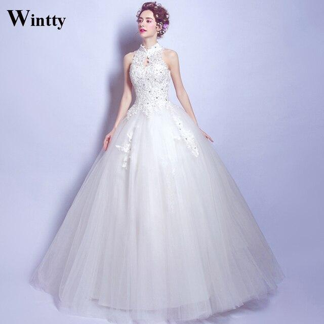 Wintty Vintage Weiß Muslim Brautkleider Spitze High Neck ...