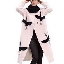 Новый 2017 Женщины Crane Вышивка Пальто Полушерстяные Пальто Длинный Шерстяной Верхняя Одежда Двубортный Шерстяное Пальто Траншеи