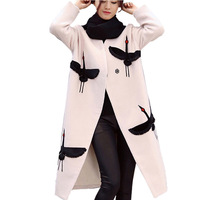 New 2016 Women Crane Embroidery Coat Wool Blend Overcoat Long Woolen Outerwear Double Breasted Wool Overcoat