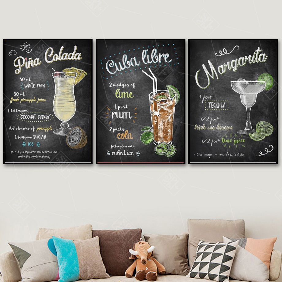 Image 3 - Abstract Hand Drawn Colorful Cocktails Drinks Canvas Art Posters and Prints Pub Bar Decoration Wall Picture Painting No Framed-in Painting & Calligraphy from Home & Garden