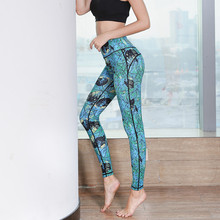 Yoga Pants Women Leggings Running Sports Jogging Tights New Yoga Fitness another clear blue Print Dot
