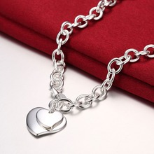 Fashion Jewelry Luxury Brand design style Double hearts TIF Necklace Short Chain For Women Accessories