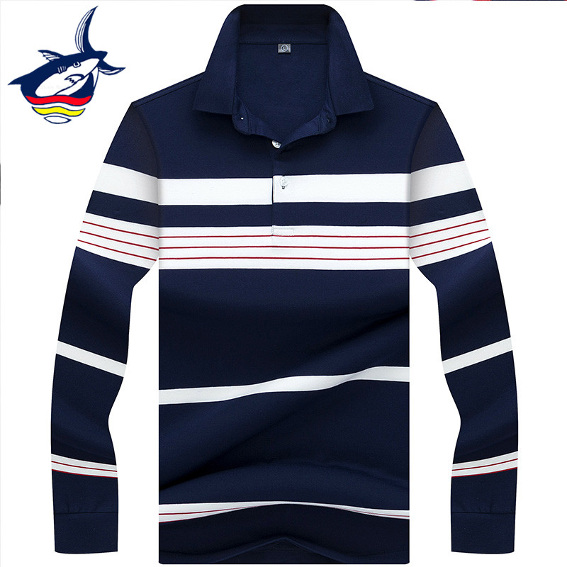 2019 men   polo   shirt brand high quality long sleeve striped   polos   shirts para hombre Tace & Shark casual & business   polo   shirt