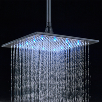 16 Inch 40cm * 40cm Water Powered Rain Chrome Led Shower Head Without Shower Arm.Bathroom 3 Colors Led Showerhead. Chuveiro Led.