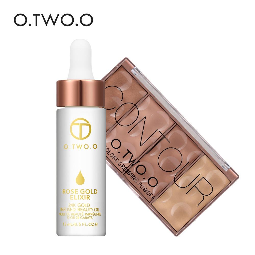 O. DEUX. O 2 pcs/ensemble Visage Make up 24 k Or Rose Elixir Peau Maquillage Huile Essentielle + Contour Bronzer Blush ombrage Poudre Pour Le Visage Contour