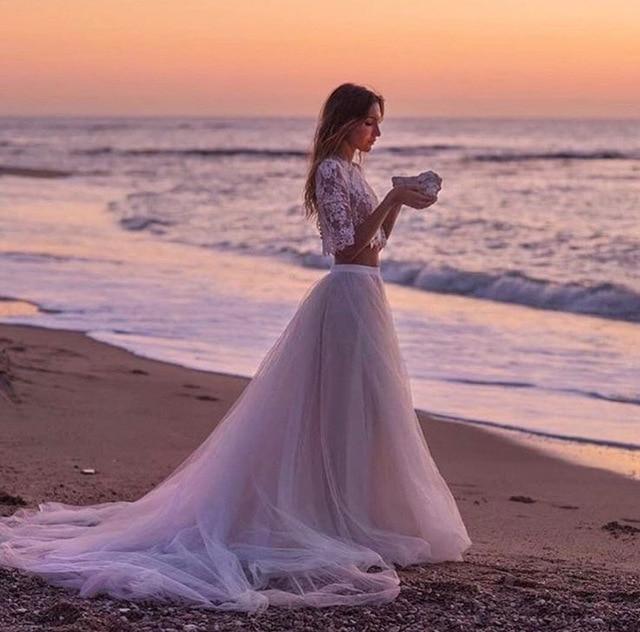 Mancherons Robes De Mariée En Dentelle De Bohême été Beach Boho Robes Pour Le Mariage Une Ligne Balayage Train Robes De Mariée Ivoire Champagne