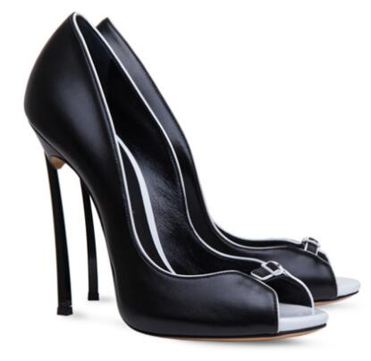 Summer new women shallow peep toe high heel pumps Female open toe super high thin heel shoes Black/white high heels Dress shoes fashion women pumps gladiator peep toe women high heels shoes women casual thin heel buckle strap summer high heel pumps