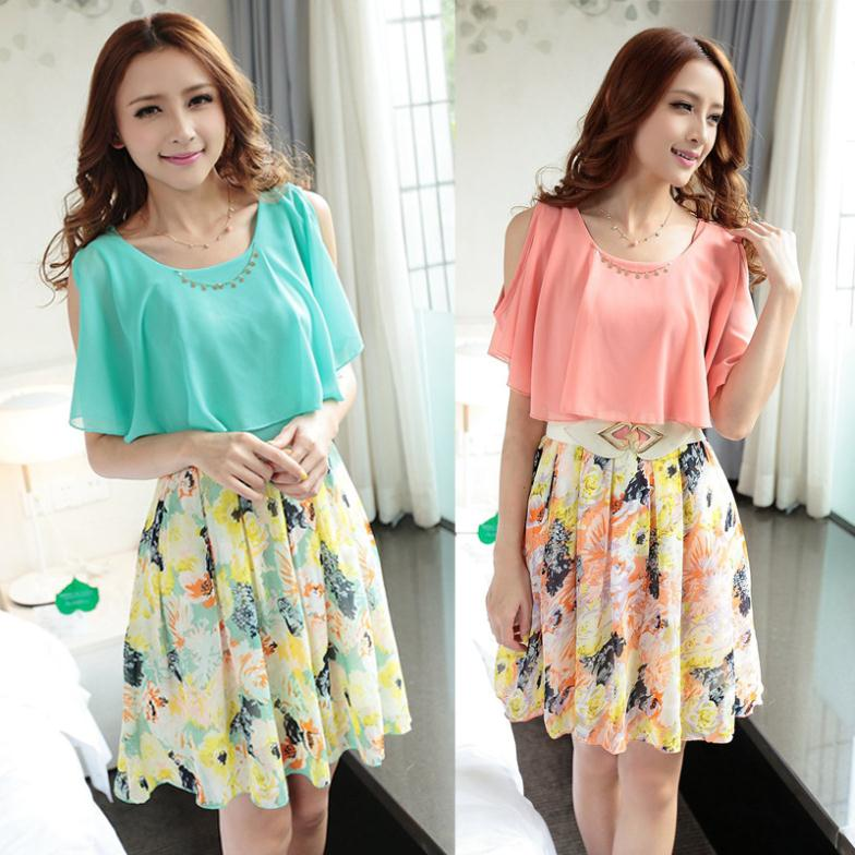 Buy Cute Dress 2014 Spring And Summer Women Korean Thin Chiffon Floral Print