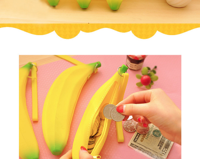Cute Coin Purse Banana Pencil Case Kawaii Bag Silicone Purse Children's Purses For Kids Yellow Ulrica Coin Bags For Women Funny (2)