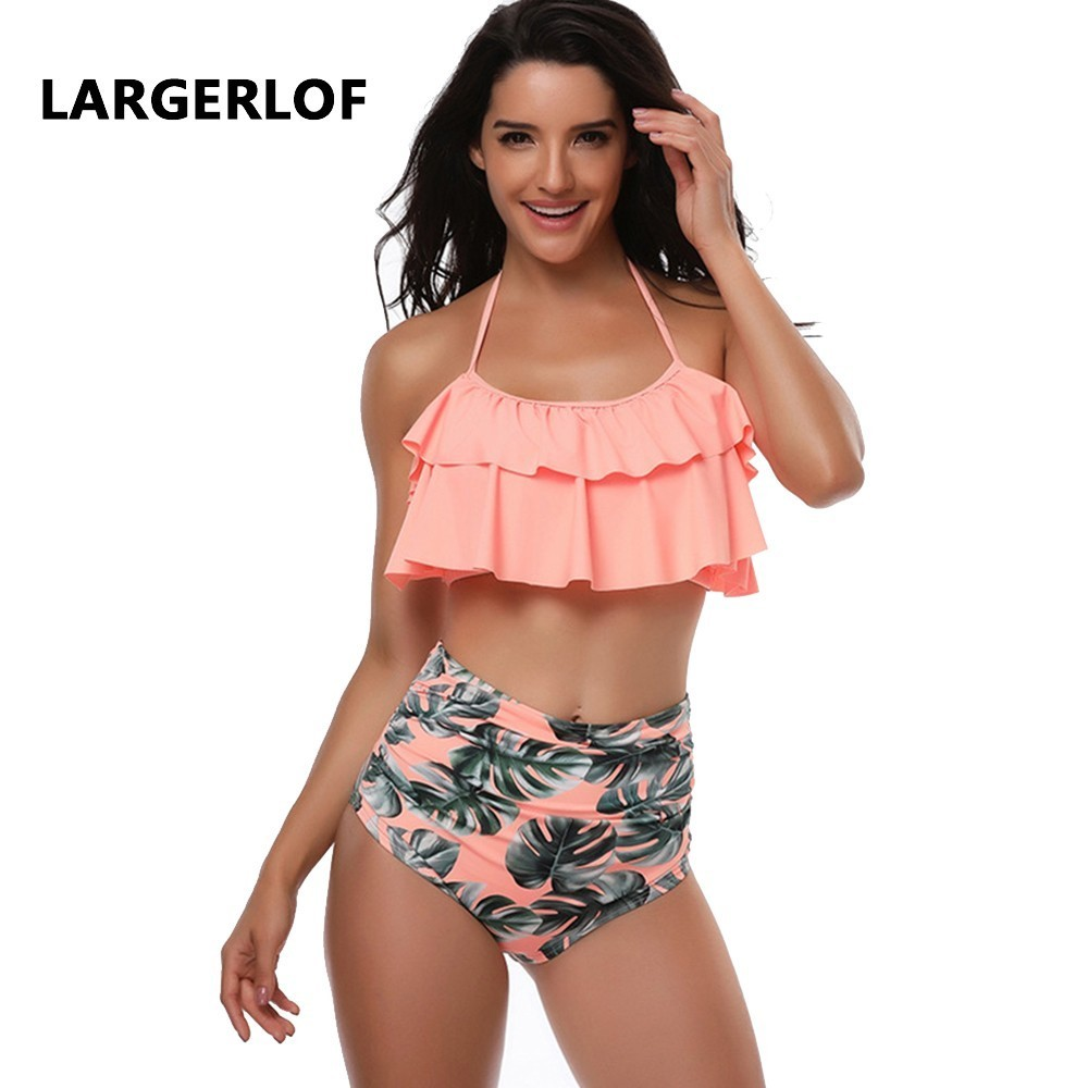 Ruffle Bikini Swimwear Pust Up Women High Waist Swimsuit Swimwear Female Swimsuit Large Size BK50001