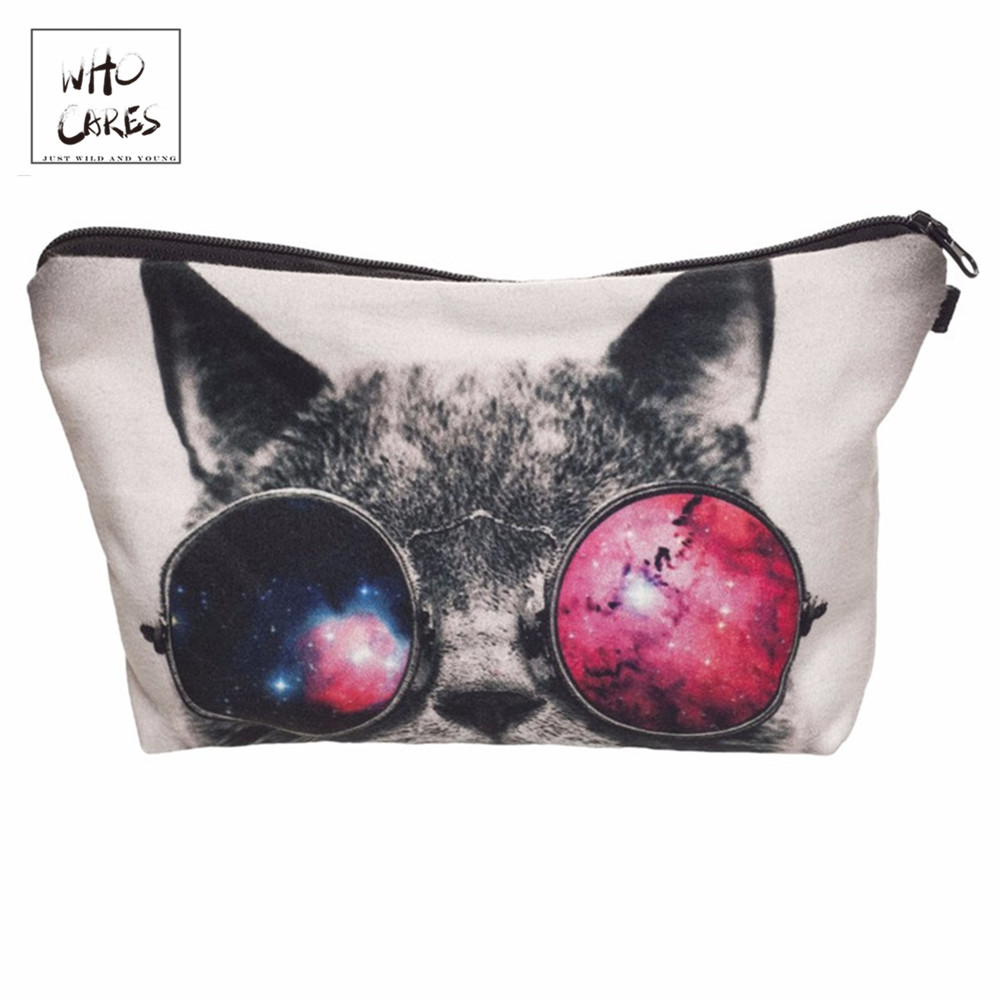 Who Cares Fashion Printing Galaxy Sunglasses Cat Makeup Bags Cosmetic Organizer Bag Lady Pouch Women Cosmetic Bag