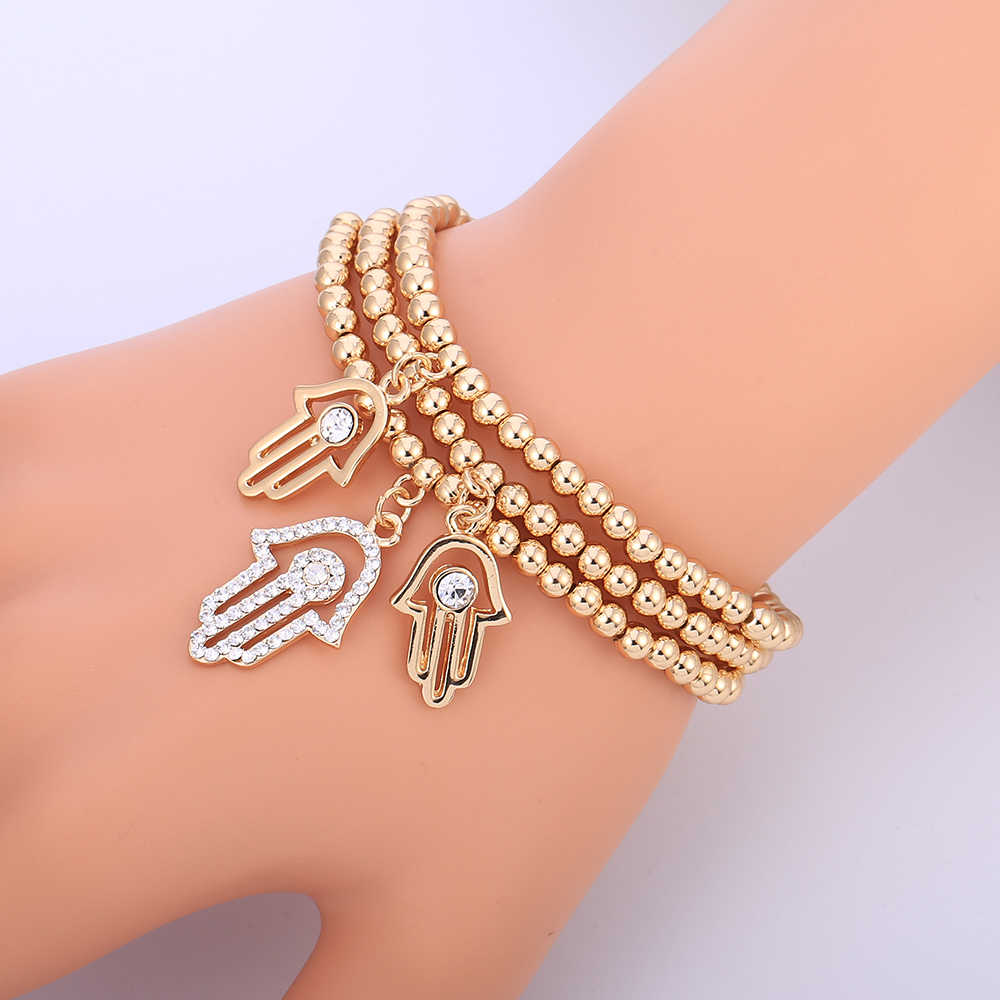 Gold Evil Eye Bracelet Turkish CZ Crystal Small Charm Hand Of Hamsa Bracelets For Women Elastic Chain Fashion Bead Jewelry Gifts