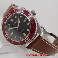43mm Parnis Black Dial Date 21 Jewels Miyota 8215 Automatic Movement Mens Watch
