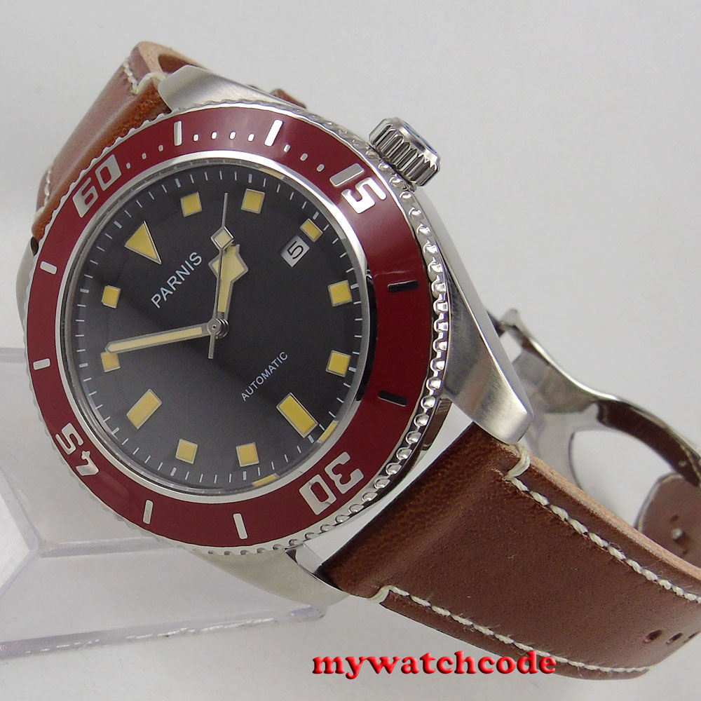 лучшая цена 43mm parnis black dial date 21 jewels miyota 8215 automatic movement mens watch