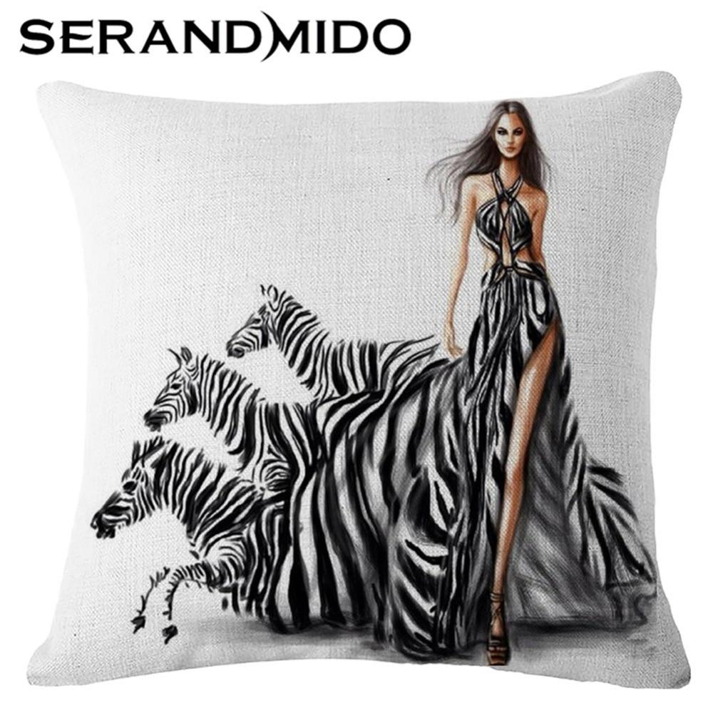 Decorative Cushion Covers 45x45cm Cartoon Zebra Print Cotton