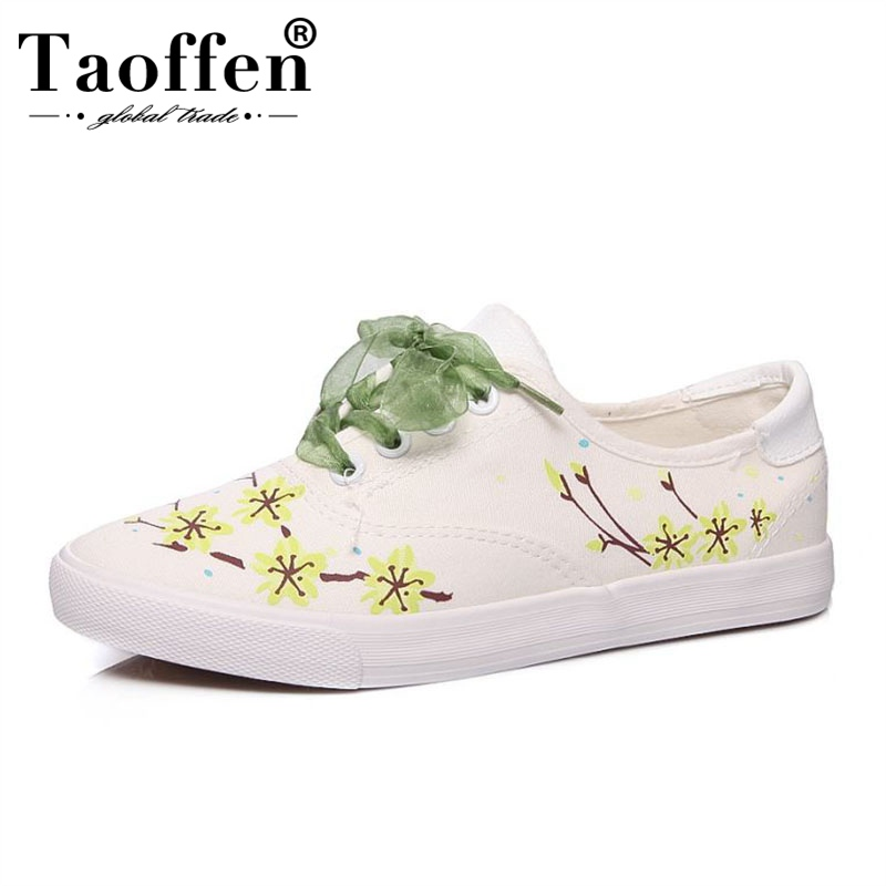 Taoffen Riband Print Flats Shoes Women Soft Bottom Canvas Shoes Leisure Sneakers Daily Vulcanized Shoes Women Size 36-41Taoffen Riband Print Flats Shoes Women Soft Bottom Canvas Shoes Leisure Sneakers Daily Vulcanized Shoes Women Size 36-41